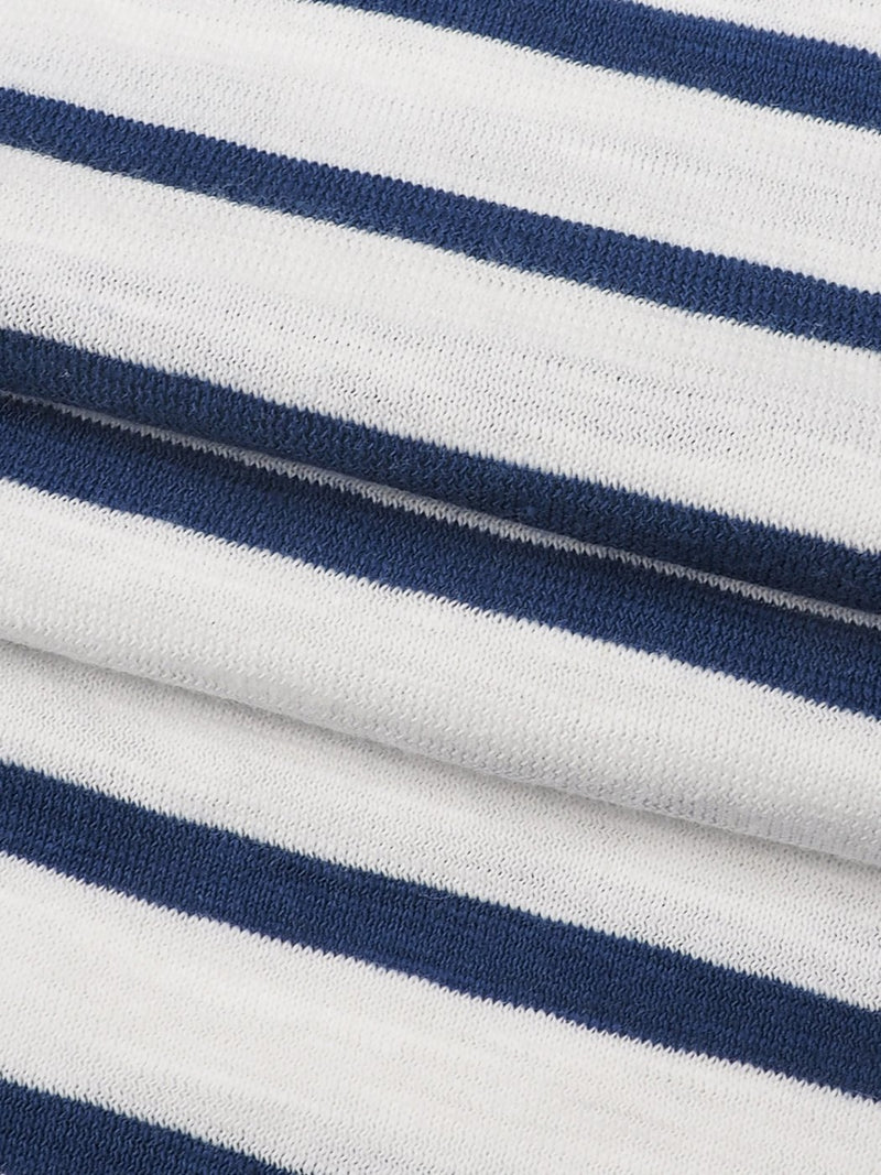 Pure Organic Cotton Light Weight Slub Stripe Jersey Yarn Dyed Fabric(KJ13830 TWO COLORS AVAILABLE)