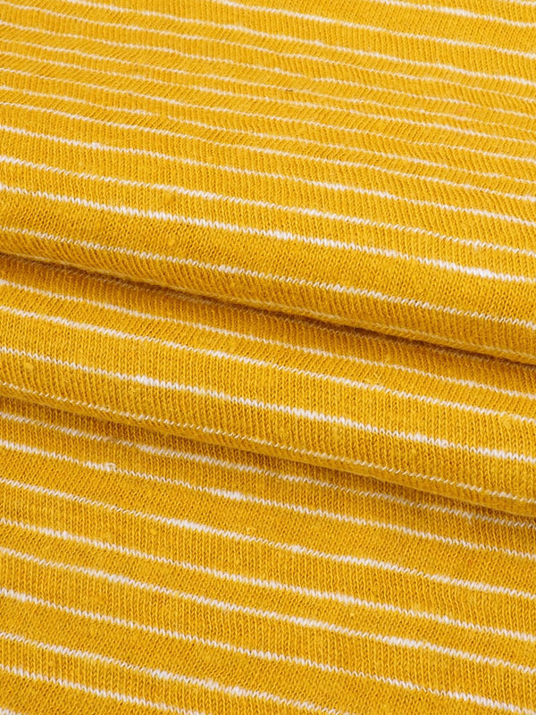 Hemp & Organic Cotton Light-Weight Stripe Jersey Yarn Dyed Fabric  ( KJ17849 Yellow/White Stripe ) - Hemp Fortex