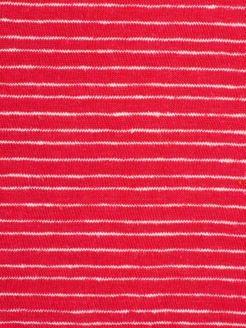 Hemp & Organic Cotton Light-Weight Stripe Jersey Yarn Dyed Fabric  ( KJ17849 Red/White Stripe ) - Hemp Fortex