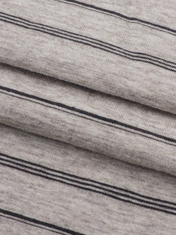 Hemp, Organic Cotton & Yak Light Weight Stripe Jersey Yarn Dyed Fabric(KJ35A810 Natural/Black Stripe)