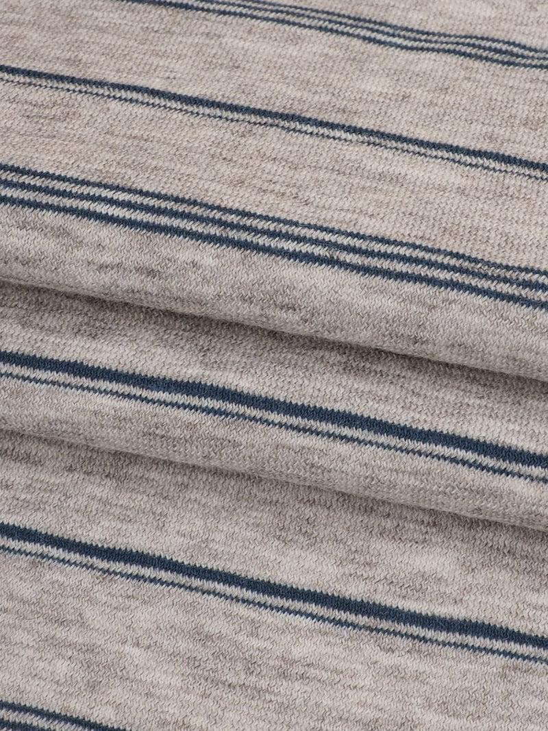 Hemp, Organic Cotton & Yak Light Weight Stripe Jersey Yarn Dyed Fabric(KJ35A810 Natural/Blue Stripe)