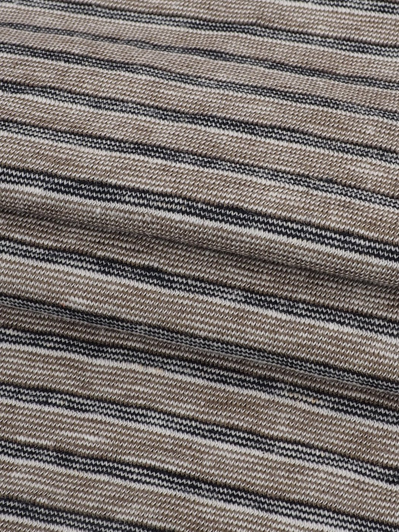 Hemp & Organic Cotton Light Weight Yarn Dyed Stripe Jersey Fabric ( KJ11858 Khaki/Dark Grey Stripe ) - Hemp Fortex