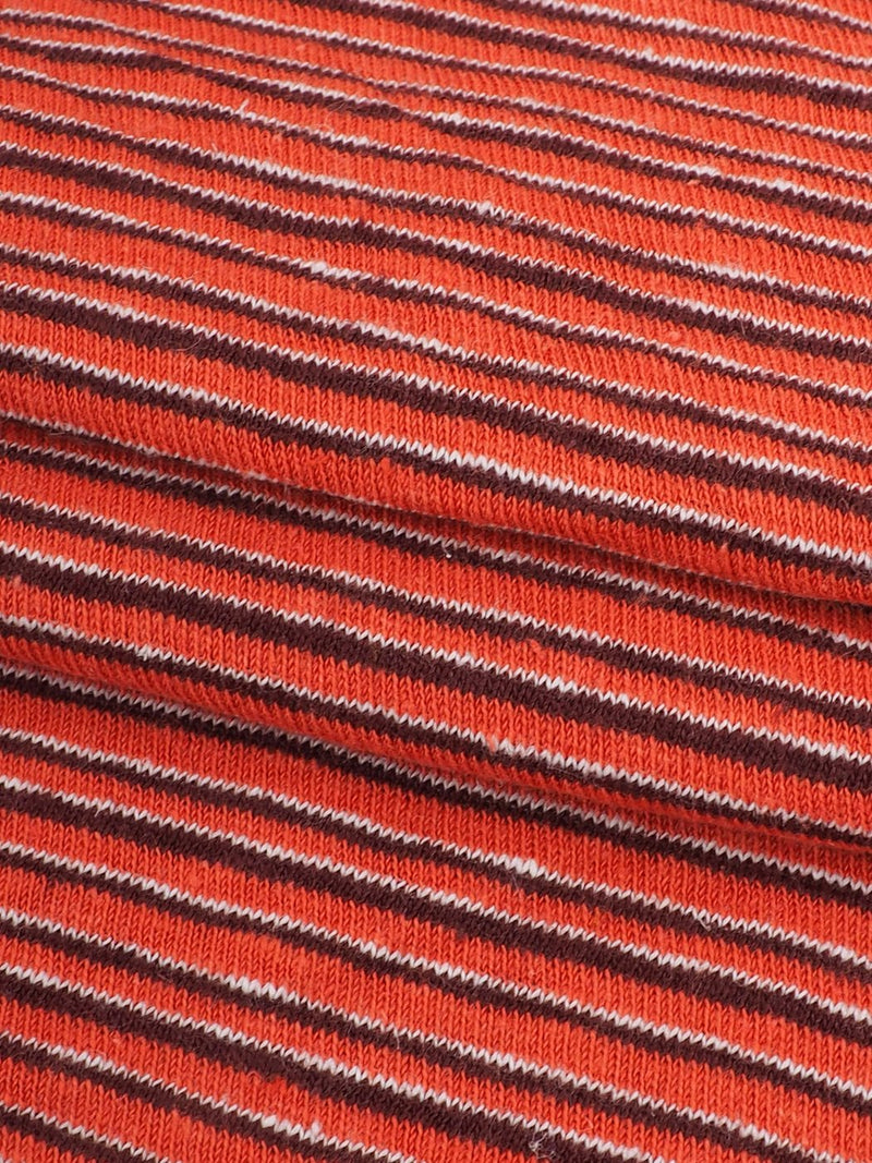 Hemp & Organic Cotton Light Weight Yarn Dyed Stripe Jersey Fabric(KJ21B965B Coral Stripe) - Hemp Fortex