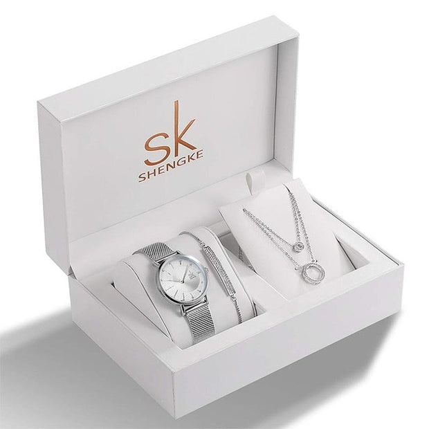 Shengke Brand Crystal Design Bracelet Necklace Set - Serac Sunglasses Online