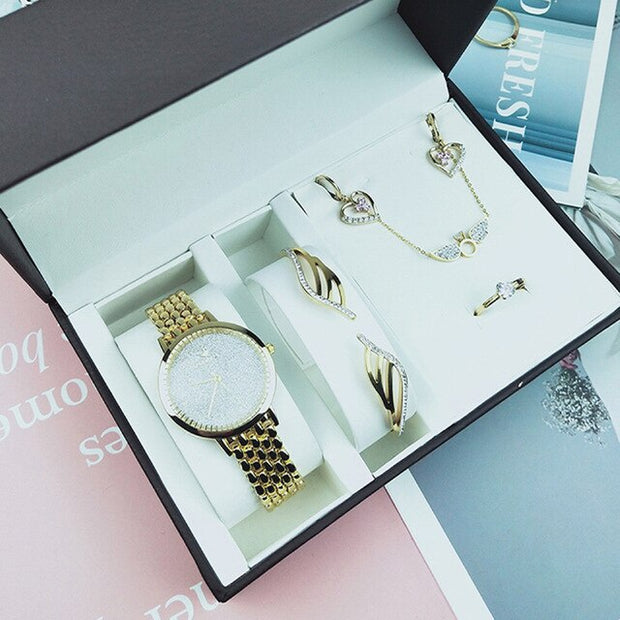 Women 5Pcs Bracelet Necklace Earrings Ring Set - Serac Sunglasses Online