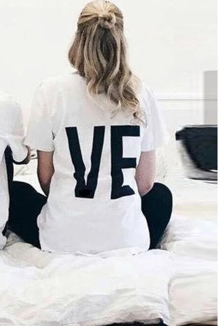 Tee Shirt Women Men LO VE Red
