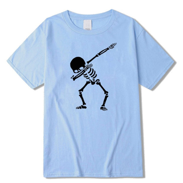 Men short sleeve dabbing print skull men T shirt casual o-neck