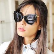 New Oversized Vintage Square Cat Eye Sunglasses Border Leopard Print Sunglasses - Serac Sunglasses Online