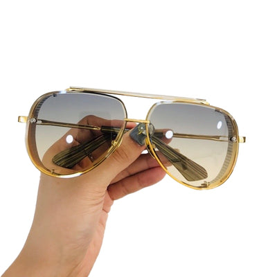 Vintage Metal Sunglasses Men Driving Retro Pilot Mirror UV400