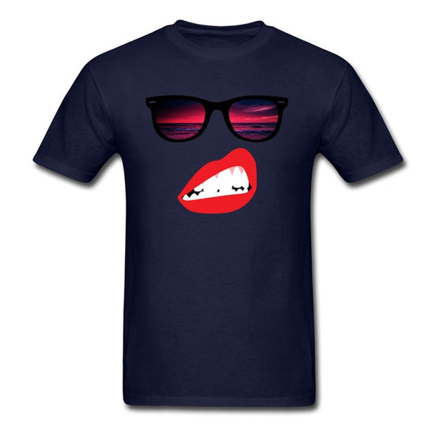 Sassy Summer T-shirt Men Black Top T Shirts Hipster Lips Custom - Serac Sunglasses Online