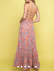 Salmon Paisley Maxi Dress - Cocoa Couture Miami Boutique