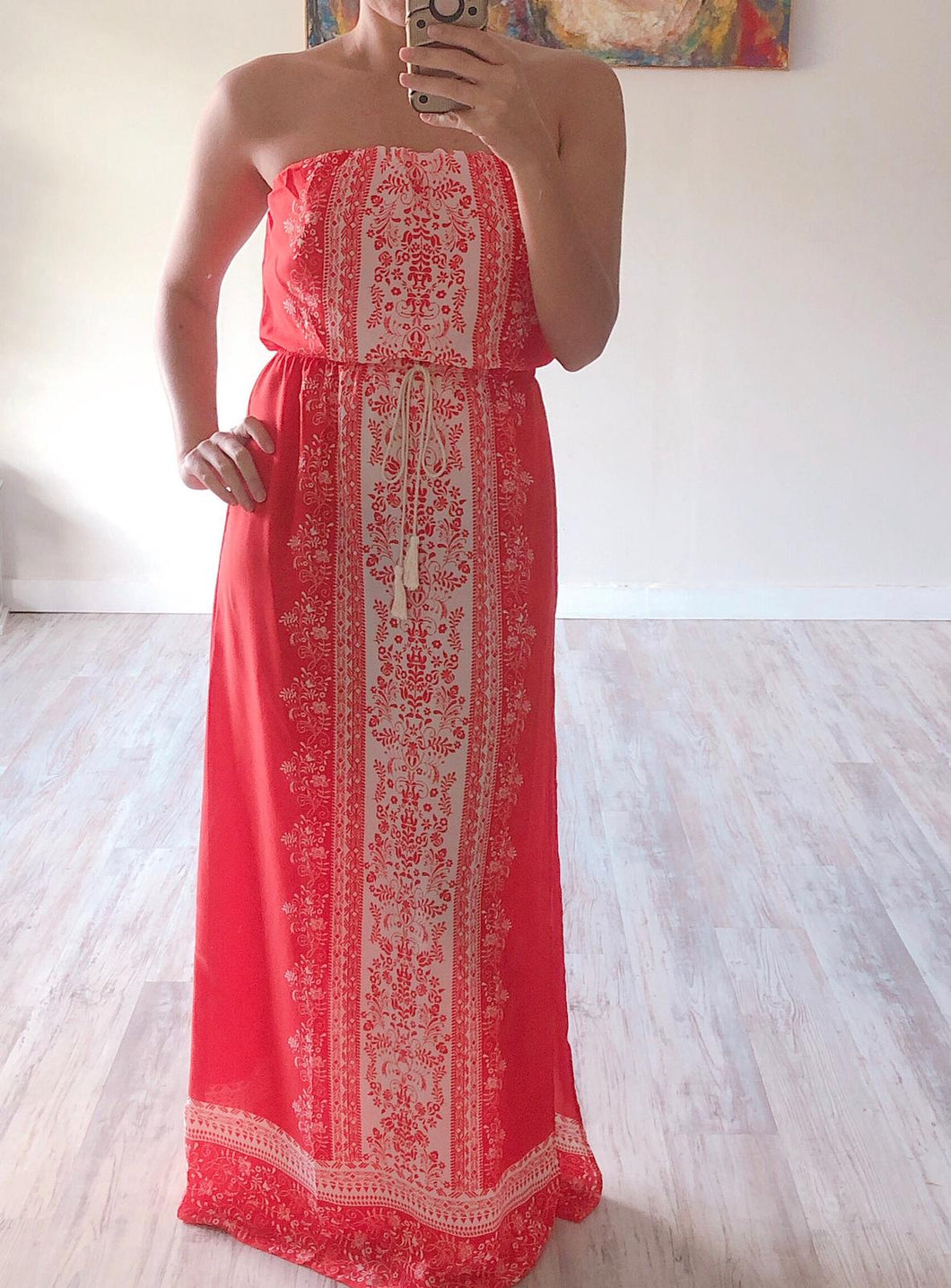 Red Strapless Maxi Dress - Cocoa Couture Miami Boutique