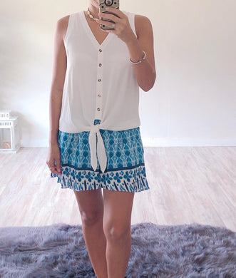 Blue Printed Shorts - Cocoa Couture Miami - Clothing Boutique