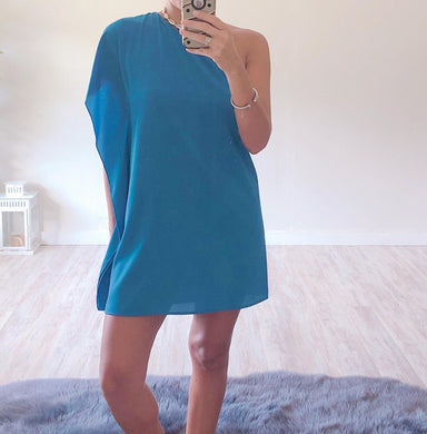 Blue One Shoulder Dress - Cocoa Couture Miami - Clothing Boutique