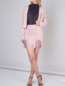 Dusty Pink Fringe Faux Suede Skirt - Cocoa Couture Miami Boutique