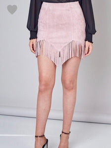 Dusty Pink Fringe Faux Suede Skirt - Cocoa Couture Miami - Clothing Boutique