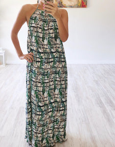 Green/Navy Pleated Halter Maxi Dress - Cocoa Couture Miami Boutique