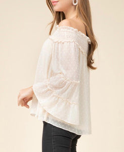 Beige Ruffle Sleeve Off Shoulder Top - Cocoa Couture Miami Boutique