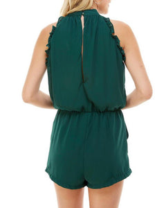 Hunter Green Ruffle Romper - Cocoa Couture Miami Boutique