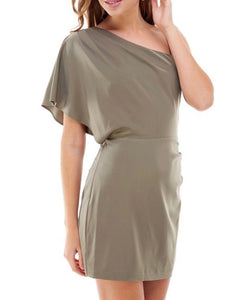 Olive One Shoulder Dress - Cocoa Couture Miami Boutique