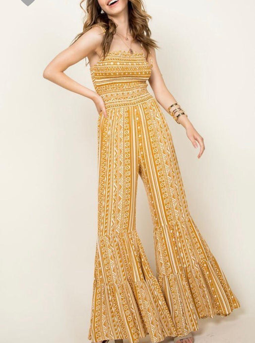 Yellow Printed Ruffle Bottom Jumpsuit - Cocoa Couture Miami Boutique