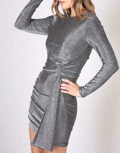 Silver Tie in Side Ruched Back Dress - Cocoa Couture Miami Boutique