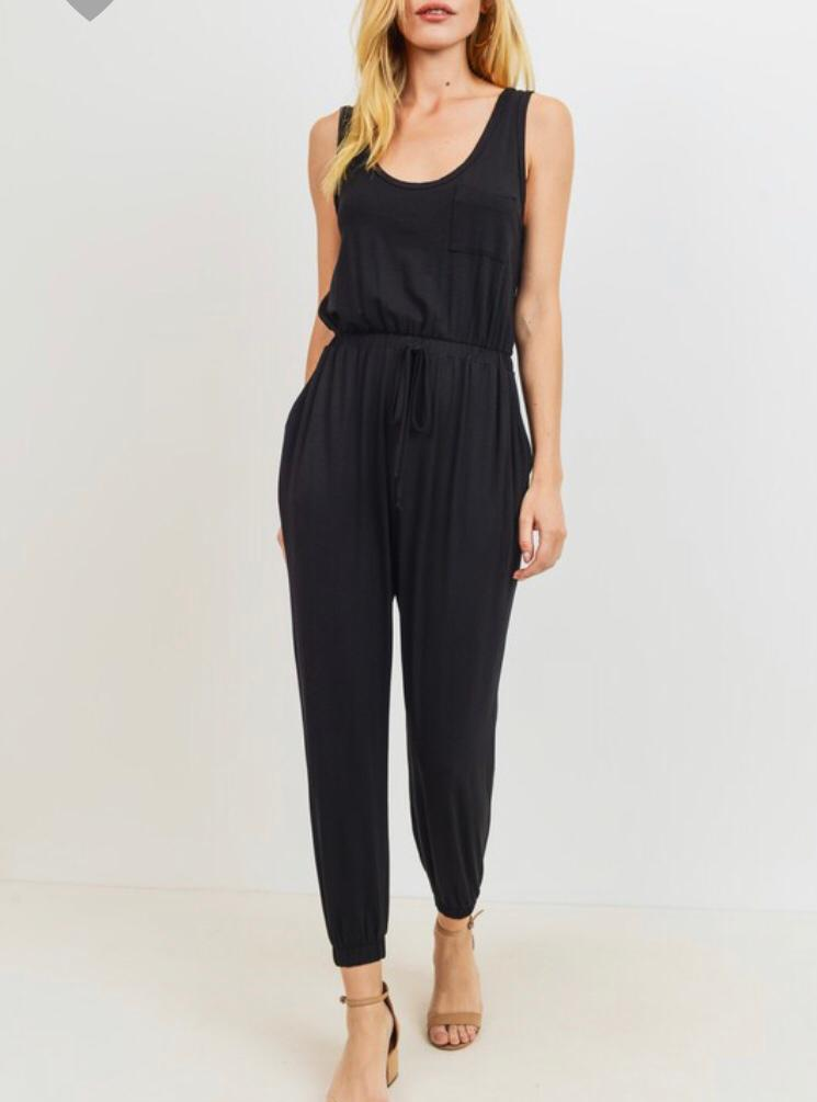 Black Drawstring Jumpsuit - Cocoa Couture Miami - Clothing Boutique