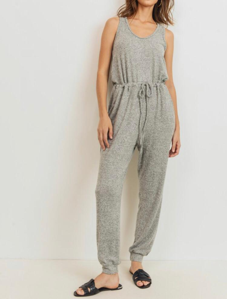 Light Grey Knit Jumpsuit