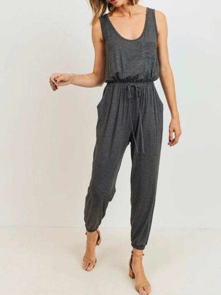 Charcoal Drawstring Jumpsuit - Cocoa Couture Miami - Clothing Boutique