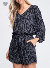 Charcoal Leopard Print Romper - Cocoa Couture Miami - Clothing Boutique