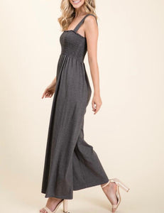 Charcoal Smocked Jumpsuit - Cocoa Couture Miami - Clothing Boutique