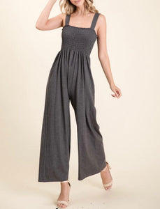 Charcoal Smocked Jumpsuit