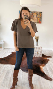Khaki Short Bell Sleeve Top - Cocoa Couture Miami - Clothing Boutique