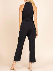 Black Cross Halter Jumpsuit