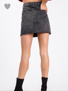 Black Denim Studded Skirt - Cocoa Couture Miami - Clothing Boutique