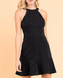 Black Shimmery Halterneck A Line Dress - Cocoa Couture Miami - Clothing Boutique