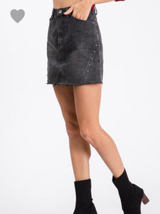 Black Denim Studded Skirt