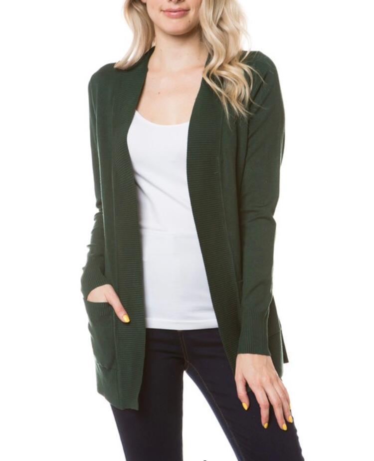 Hunter Green Open Knit Cardigan - Cocoa Couture Miami - Clothing Boutique