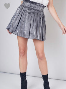 Gunmetal Pleated Skirt