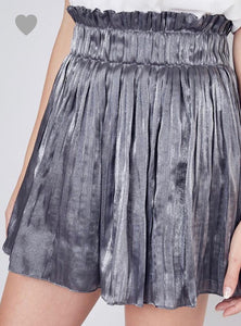 Gunmetal Pleated Skirt - Cocoa Couture Miami - Clothing Boutique