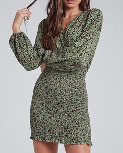 Moss Green Smocking Skirt Dress