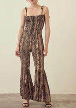 Snake Print Bell Bottom Jumpsuit