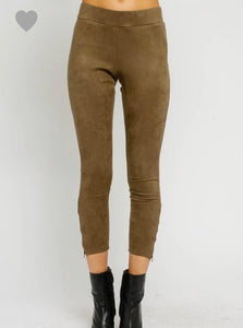 Olive Faux Suede Zipper Leggings - Cocoa Couture Miami - Clothing Boutique