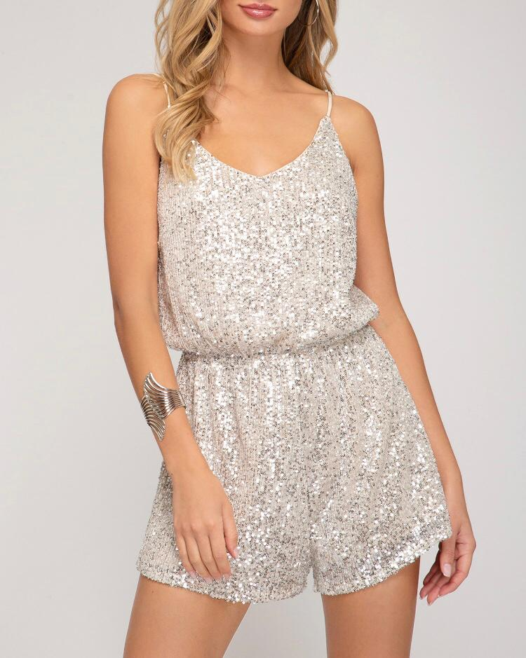 Gold Sequin Romper - Cocoa Couture Miami - Clothing Boutique