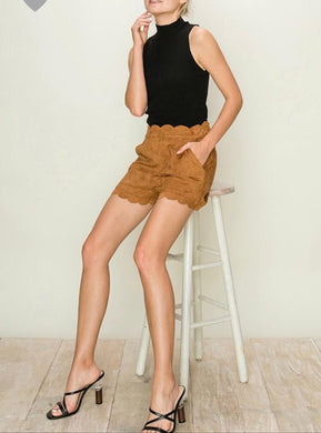 Caramel Scallop Faux Suede Shorts - Cocoa Couture Miami - Clothing Boutique