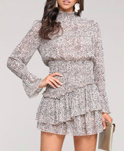 Ruffle Beige Animal Print Dress
