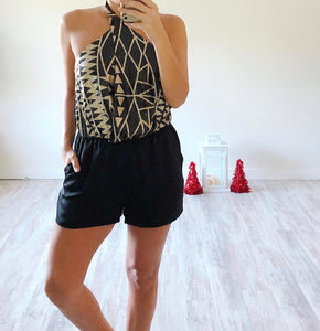 Black and Gold Sequin Romper - Cocoa Couture Miami - Clothing Boutique
