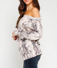 Light Snake Print Knit Top - Cocoa Couture Miami - Clothing Boutique