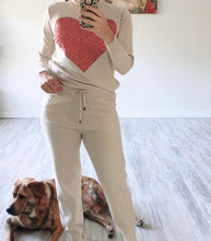 Beige Heart 2 Piece Knit Set