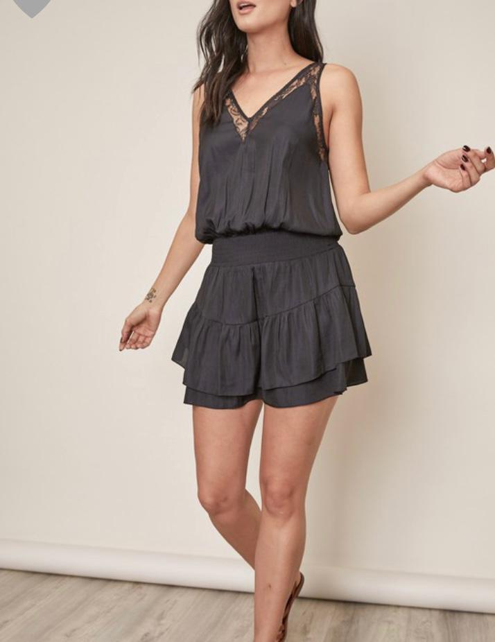 Black Shirring Lace Tank Dress